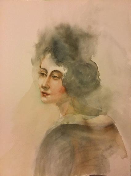 """""""Mise en plis"""", aquarelle sur papier, 80 x 60 cm"""